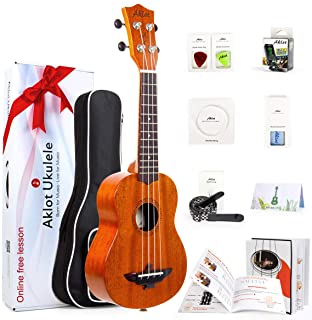Solid Mahogany Ukulele Uke Ukelele For Beginners With Free Online Lessons 8 Packs Starter Kit (Gig Bag Picks Tuner Strap S...