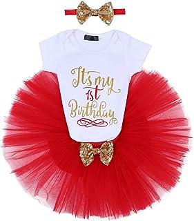 FYMNSI Baby Mädchen 1/2. / 1. / 2. Geburtstag Party Outfit Baumwolle Kurzarm Body  Tütü Rock  Stirnband 3tlg Bekleidungsset Fotoshooting Kostüme