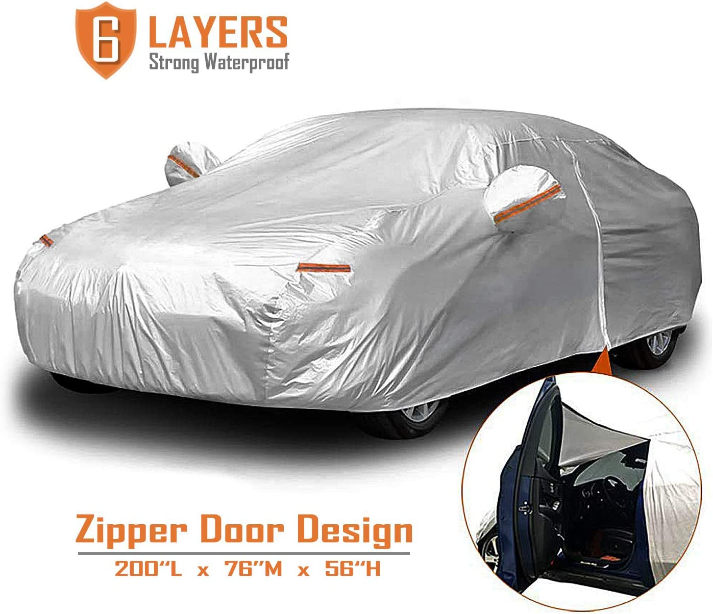 CARBABA Cheap mail order specialty store Car Cover 5 ☆ popular Universal Full with Covers Zipper 6 Door
