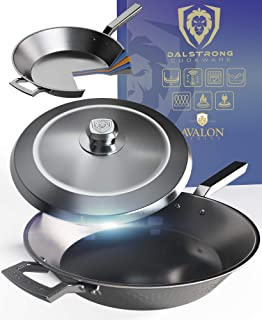 """DALSTRONG 12"""" Frying Pan Skillet - The Avalon Series - 3 Quart - 5-Ply Copper Core - Hammered Finish - Black Cookware - w/..."""