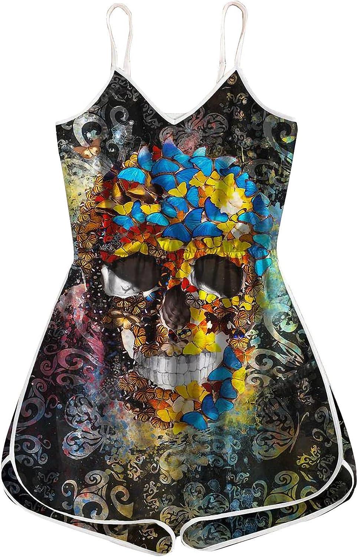 Women Summer One-Piece Jumpsuits, Sleeveless Vintage Halloween Skull Printed Short Romper Casual Pajamas Jumpsuits