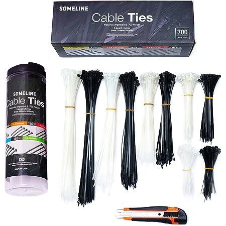 Nylon Kabelbinder Set Mit Cuttermesser Schwarz Und Weiß Kabelbinder 5 Größen 100 150 200 250 300mm Somleine 700 Stück Schwarz Weiß Kabelbinder Set Baumarkt