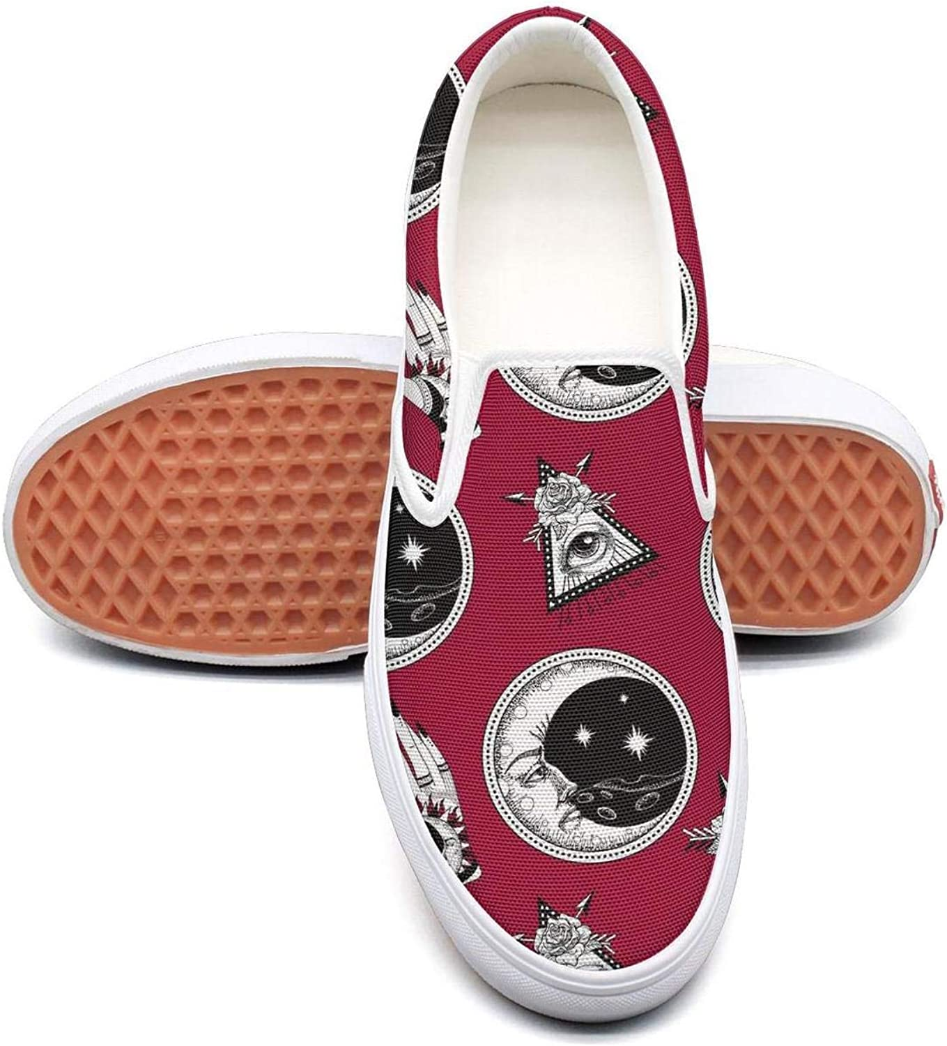 Red Vintage Moon Eyes Womens Flat Slip on Low Top Canvas Tennis shoes