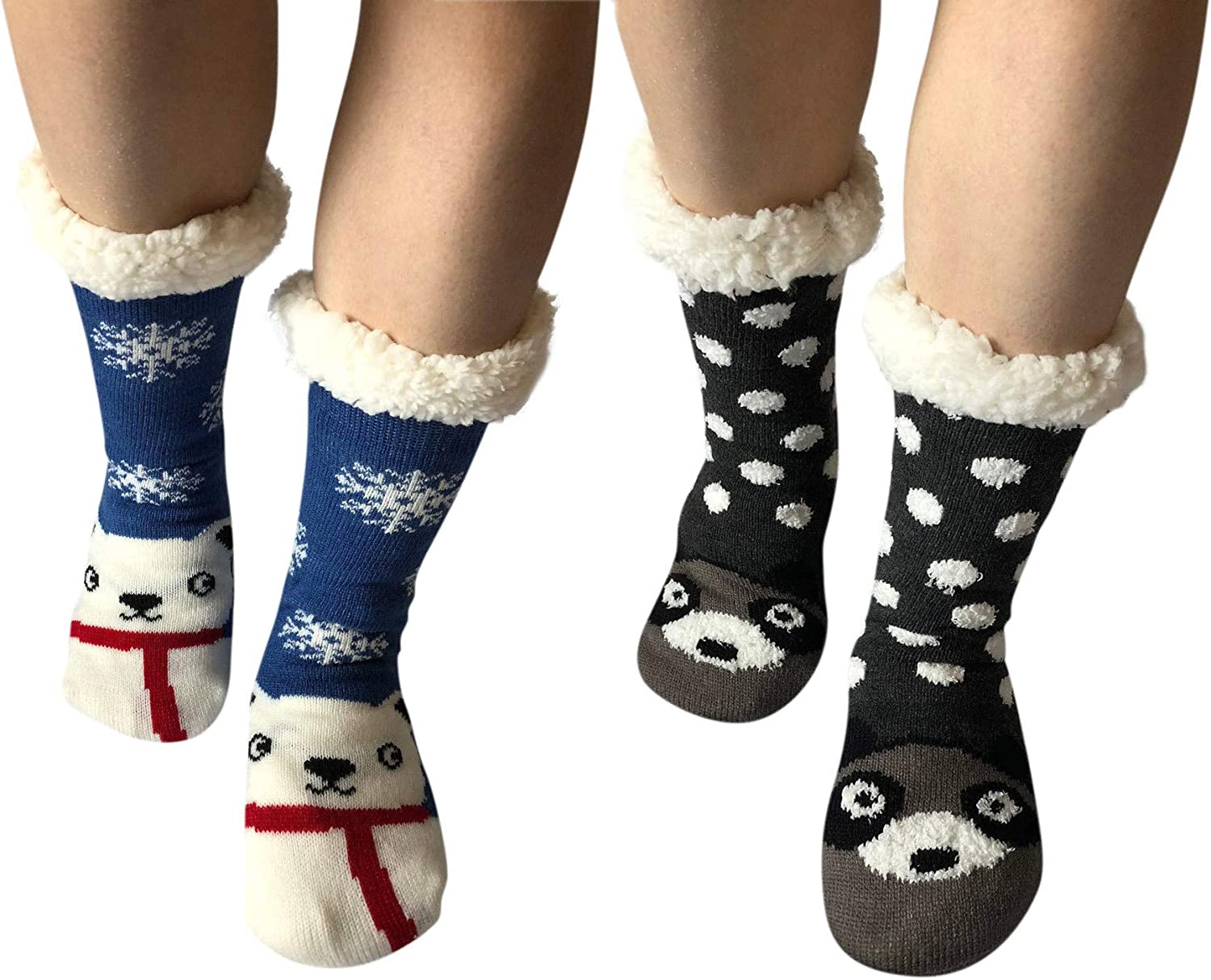 2 Pairs Women Thick Knit Sherpa Lined Thermal Non Skid Slip Indoor Soft Slipper Socks