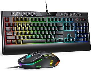 RUNMUS Gaming Keyboard and Mouse Combo, LED Rainbow Backlit,