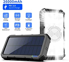 Solar Power Bank 26000mAh, Solar Charger with 28 LEDs, Type-c(in & Out) + Wireless Charging + 3 USB Output for Camping & Travelling, External Backup Battery Pack with Output of 3A for iPhone/Androi