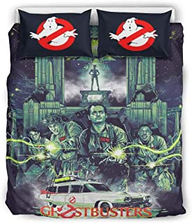 Nchjjo Three-Piece Suit Ghostbusters Bedding Set, Fade Resistant Sheet Set with Pillowcase White 66x90 inch