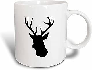 3dRose mug_179700_1 Black Deer Head Silhouette on White Modern Stag with Antlers Shadow Ceramic Mug, 11-Ounce
