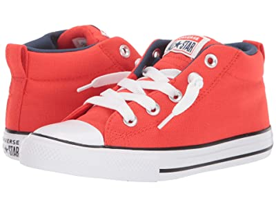 Converse Kids Chuck Taylor(r) All-Star(r) Street Moon Seasons Mid (Little Kid/Big Kid) (Habanero Red/Navy/White) Boys Shoes
