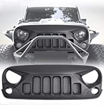 DIYTuning Angry Skull Grill 6 Holes Front Grille Mesh for Jeep Wrangler JK JKU Unlimited Rubicon Sahara X Off Road Sport Exterior Accessories Parts 2007-2018