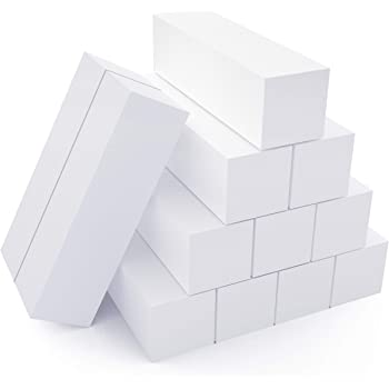Natural and Acrylic Nail Buffing Blocks, 12-Pack, 4 Sided, Medium Grit, White