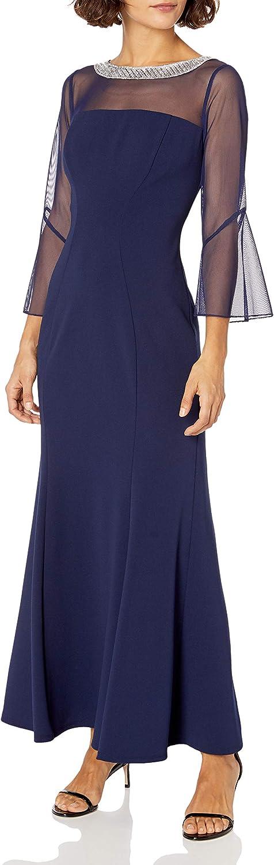Alex Evenings Women's Long Shift Dress Illusion Neckline (Petite and Regular)