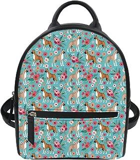 Flower Dog Print Mini Backpack PU Leather Knapsack for Girl
