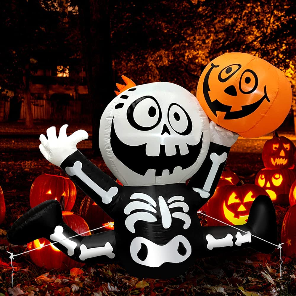 Yostyle 5 Ft Cheap bargain Halloween Inflatables Pumpkin Skeletons Gifts Skull with