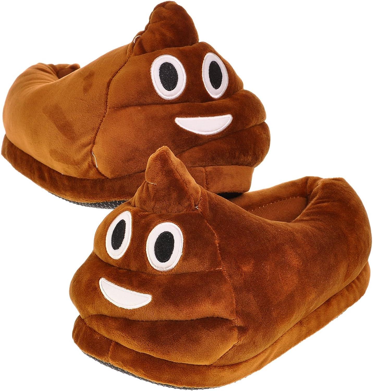 Shopready Cute Cartoon Emoj Unisex Slippers for Adult, Warm Slip-on Footwear Plush Winter Indoor shoes