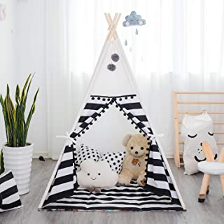 TreeBud Barn tipi lektält med matta inomhus utomhus indiska tält med randig gardin lekstuga pompom spets bomull kanvas Tip...
