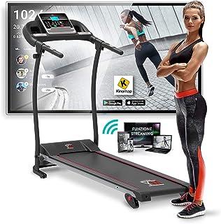 YM Tapis Roulant Elettrico Pieghevole 11 km/h, App KINOMAP & ZWIFT Coaching/Video, Sensore Cardio, Inclinazione Regolabile...