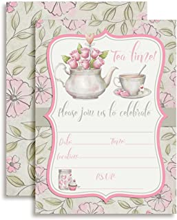 Watercolor Tea Party Birthday Party Invitations for Girls, 20 5
