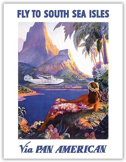 Amazon Com Fly To South Seas Isles Via Pan American Pan American Airways Paa Hawaii Vintage Airline Travel Poster By Paul George Lawler C 1940s 8in X 12in Vintage Wood Art