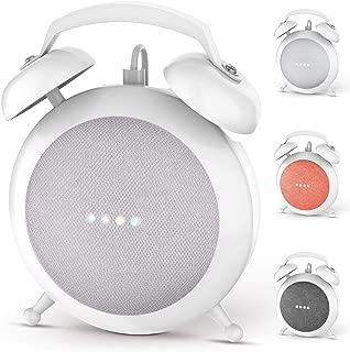 Google Home Mini Stand Holder, Retro Alarm Clock Stand Mount Base Protective Case Compatible with Google Home Mini (White)