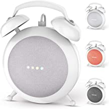 Google Home Mini Stand Holder, Retro Alarm Clock Stand Mount Base Protective Case Compatible with Google Home Mini and Nest Mini (White)