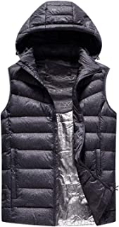 Decdeal USB Heated Warm Security Intelligent Autumn and Winter Vest with Hat Men Motorcycle Outdoor Ski Jacket Gray