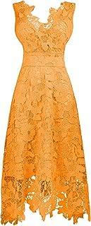 CladiyaDress Women V Neck Sleeveless Lace Long Bridesmaid Dress Evening Gown D244LF