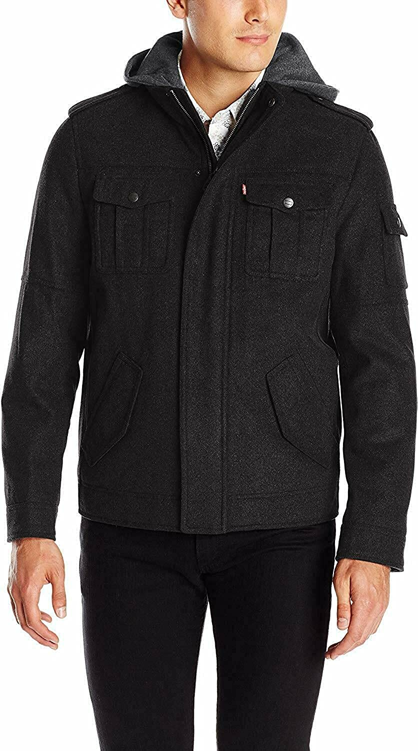 Max 60% OFF Levi's BLACK Men's Wool Blend Seattle Mall Jacket Military M Hooded