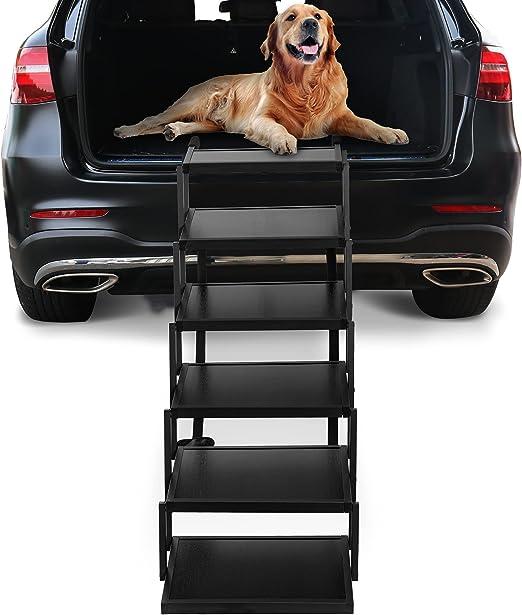 Niubya 狗狗台阶 适用于大型犬,轻质铝质可折叠宠物梯坡道,带防滑,适用于高床、卡车、汽车和 SUV,5 步狗狗楼梯支撑 150 磅
