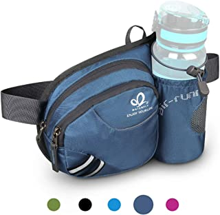 Waterfly Hiking Waist Bag Fanny Pack with Water Bottle Holder for Men Women Running & Dog
