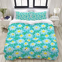 WINCAN Duvet Cover Full Size Meadow Art Pattern with Ladybirds and Chamomile Daisy Blossoms 3pc Bedding Set (1 Duvet Cover and 2 Pillow Shams) 80