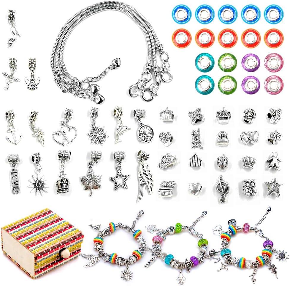 Tmox Kit de fabricación de Pulsera de joyería de Bricolaje para niñas, Juegos de artesanía para niños