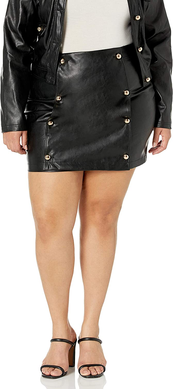 KENDALL + KYLIE Women's Vegan Leather Button Detail Mini Skirt