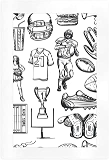 ALUONI Football Canvas Printings,Pattern with Helmet Cup Ball Cheerleader Player Sneakers Sports Equipment Sketch,23''L x 16''W