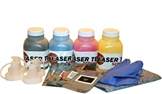 Laser Tek Services® 4PK Toner Refill with chips for Samsung CLP-300N CLX-2160N CLP-K300A CLP-C300A CLP-M300A CLP-Y300A