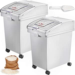 VEVOR 6.6 Gallons Ingredient Bin, Commercial Storage Bins 2 Pcs/Set, PP Material Flour Bins On Wheels, Shelf-Storage Ingredient Bin With Scoop for Kitchen