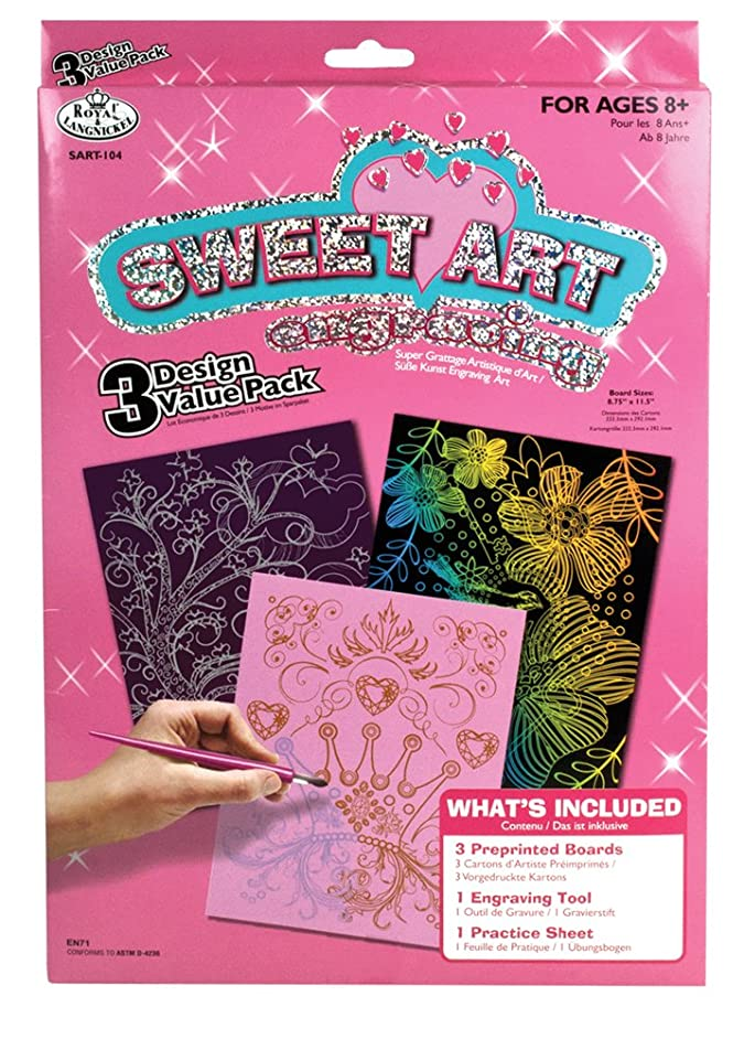 Sweet Art Engraving Art 3 Design Scratch Art Set # 104