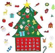 Max Fun DIY Felt Christmas Advent Calendar Christmas Tree Ornaments, DIY Xmas Countdown Decorations Wall Door Hanging Gift for Kids