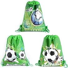 CODOHI 12er Pack Fußball Party Favor Goodie Bags, Treat Geschenk Kordelzug Fußball Rucksack Birthday Party Dekoration Lieferungen für Kinder Jungen Mädchen Baby Shower Birthday Party