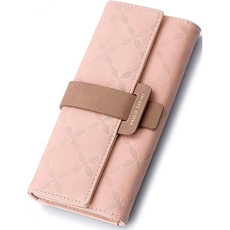 PAULO SERINI® Geldbörse Damen - Portemonnaie Damen 100% veganes Leder - Geldbeutel für Frauen groß mit 9 Kartenfächern Frauen - Women Wallet Blush Pink - rosa