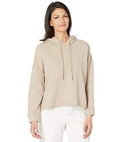 Eileen Fisher Organic Cotton French Terry Cropped Hoodie (Khaki) Women