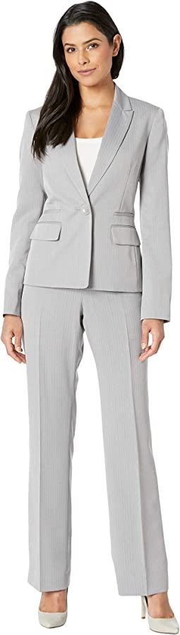 Button Peak Lapel Herringbone Pants Suit