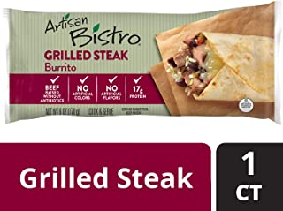 Artisan Bistro Grilled Steak Burrito – Chef-Crafted Frozen Burrito Filled with Grilled Steak, Monterey Jack Cheese, Whole Black Beans and Cilantro Lime Rice, Perfect for a Delicious Meal On-the-Go