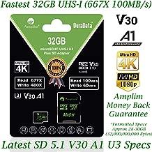 32GB Micro SD SDHC V30 A1 Memory Card Plus Adapter Pack (Class 10 U3 UHS-I Pro MicroSD HC) Amplim 32 GB Ultra High Speed 667X 100MB/s UHS-1 TF MicroSDHC 4K Flash - Cell Phone, Drone, Camera