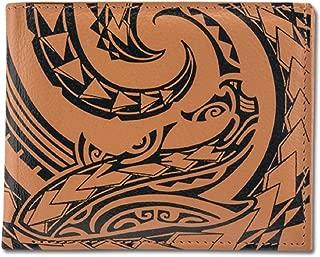 Polynesian Tattoo Bi-fold Wallet for Men Genuine Leather