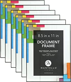 Mantello 8.5x11 Inch Picture Frame 6-Pack, Black, Front Loading Design, Certificate Diploma Document Frame