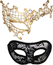 Masquerade Mask for Couples Women Metal Rhinestone Venetian Pretty Party Evening Prom Ball Mask Luxury Metal Mask with Free Lace Mask 2 Pack (Half Face Golden)