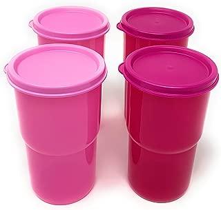 Tupperware Table Top Stacking Tumblers Set (4) 12oz Pink/Fuschia w/ Seal New