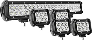 Nilight 20Inch 126W Spot Flood Combo Led Light Bar 4PCS 4Inch 18W Spot LED Pods Fog..