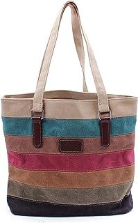 NEWLIUXI Damen Multi-Color Streifen Handtasche, Canvas Schultertasche, Tote Große Kapazität Crossbody Tasche Hobo Umhänget...